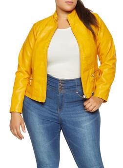 Plus Size Stitched Faux Leather Jacket - 3887051069131