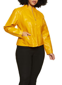 Plus Size Smocked Shoulder Moto Jacket - 3887051069132