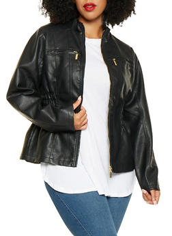 Plus Size Ruched Faux Leather Jacket - 3887051069263