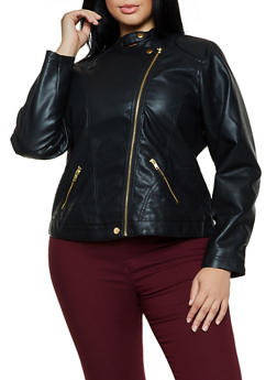 Plus Size Snap Collar Moto Jacket - 3887051069630