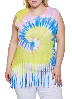 Plus Size Tie Dye Fringe Tank Top - 3910033877655
