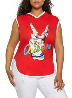 Plus Size Queen Graphic Hooded Sleeveless Top - 3910033878814
