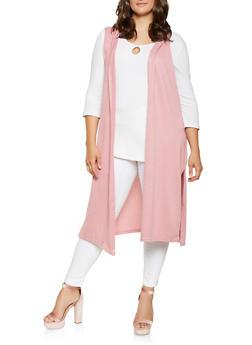 Plus Size Hooded Duster - 3910038343112