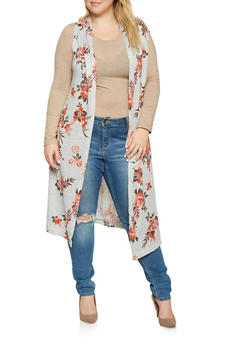 Plus Size Sleeveless Floral Duster - 3910038343148
