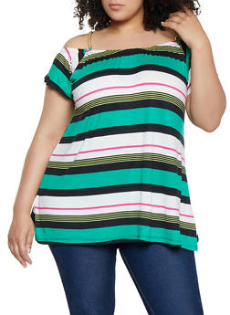 Plus Size Off the Shoulder Chain Strap Striped Top - 3910038349335