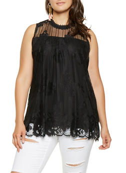 Plus Size Crochet Detail Sleeveless Top - 3910051066586