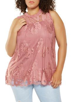 Plus Size Crochet Detail Sleeveless Top - 3910051066586