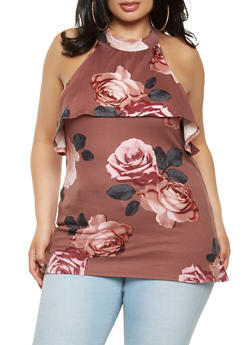 Plus Size Ruffle Floral Top - 3910066592190