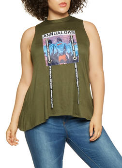 Plus Size Graphic Ribbon Detail Tank Top - 3910072240248