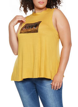 Plus Size Reversible Sequin Graphic Tank Top - 3910072242481