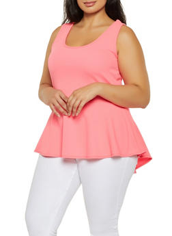 e75ae85b494806 Plus Size Sleeveless Peplum Top - 3910072244543