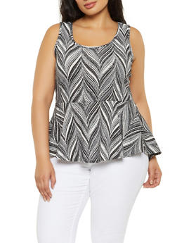 Plus Size Printed Sleeveless Peplum Top - 3910072244544