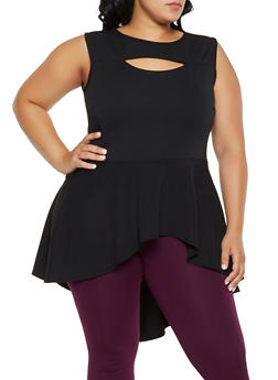 Plus Size Keyhole High Low Top - 3910074015861