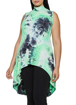 Plus Size High Low Tie Dye Top - 3910074015872