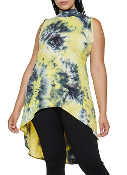 Plus Size High Low Tie Dye Top - 3910074015872