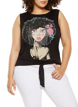 Plus Size Graphic Tie Front Tank Top - 3910074288500