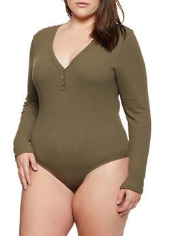 Plus Size Long Sleeve Henley Bodysuit - 3911038344237