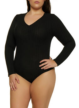 Plus Size Long Sleeve Ribbed Bodysuit - 3911038344274