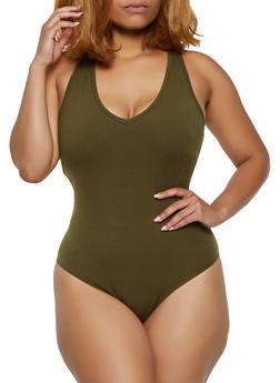Plus Size Racerback Tank Bodysuit - 3911054260407
