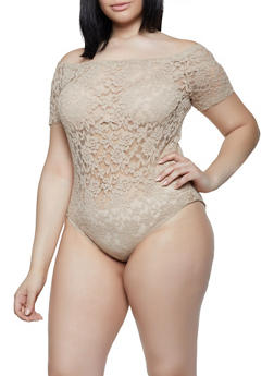 Plus Size Lace Off the Shoulder Bodysuit - 3911054260410