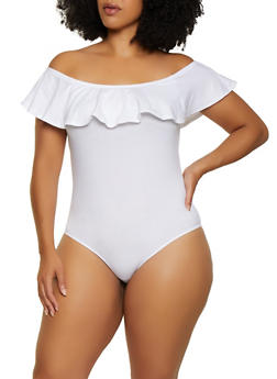 Plus Size Off the Shoulder Ruffled Bodysuit - 3911054260722