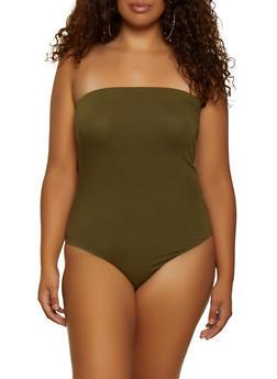 Plus Size Strapless Bodysuit - 3911054261295