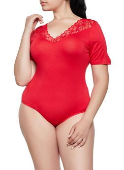 Plus Size Lace Trim V Neck Bodysuit - 3911054261520