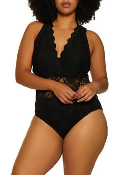 Plus Size Lace Plunge Bodysuit - 3911054269674