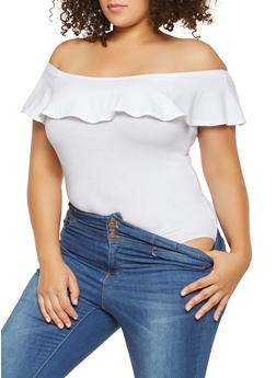 Plus Size Ruffled Off the Shoulder Bodysuit - 3911054269722