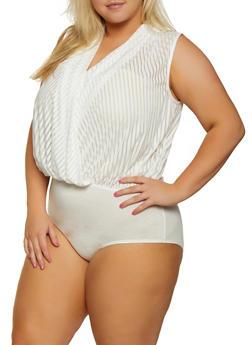 Plus Size Faux Wrap Shadow Stripe Bodysuit - 3911058751375