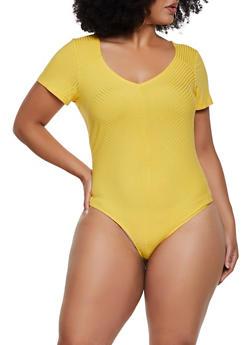 Plus Size Rib Knit T Shirt Bodysuit - 3911058751379