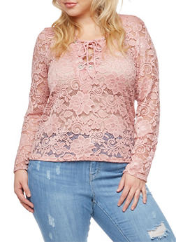 Plus Size Long Sleeve Lace Top - 3911058931254
