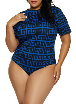 Plus Size Geometric Print T Shirt Bodysuit - 3911062121041