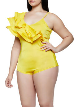 Plus Size Ruffled One Shoulder Bodysuit - 3911062121049