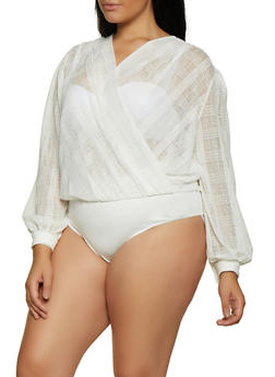 Plus Size Long Sleeve Faux Wrap Bodysuit - 3911062121296