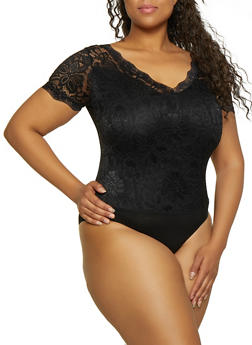 Plus Size Solid Lace V Neck Bodysuit - 3911062121545