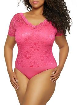 Plus Size Solid Lace V Neck Bodysuit - 3911062121545