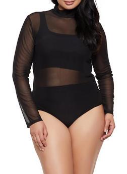 Plus Size Mesh Mock Neck Bodysuit - 3911062122720