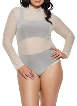 Plus Size Mesh Mock Neck Bodysuit - 3911062122720