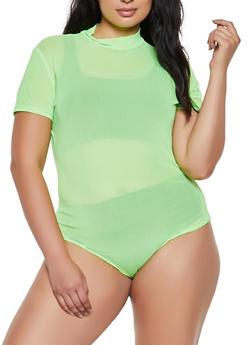 Plus Size Mesh Tee Bodysuit - 3911062122725