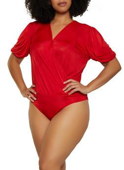 Plus Size Bubble Sleeve Faux Wrap Bodysuit - 3911062123450