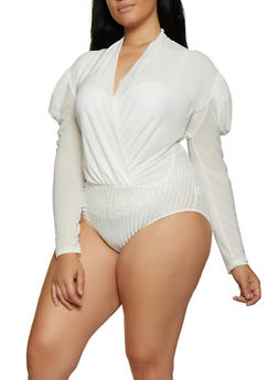 Plus Size Ribbed Mesh Bodysuit - 3911062126076