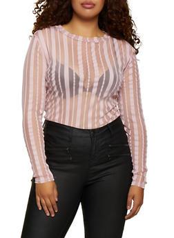 Plus Size Mesh Shadow Stripe Bodysuit - 3911062129905