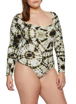 Plus Size Tie Dye Long Sleeve Bodysuit - 3911072293600