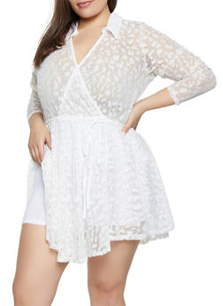 Plus Size Faux Wrap Lace Overlay Bodysuit - 3911074282246