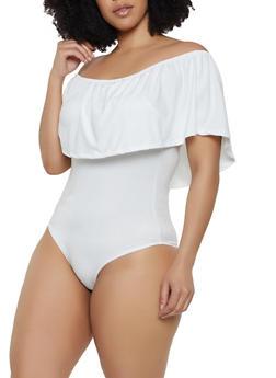 Plus Size Solid Off the Shoulder Ruffle Bodysuit - 3911074289207