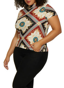 Plus Size Mock Neck Printed Top - 3912001443134