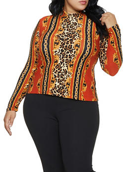 Plus Size Animal Status Print Mock Neck Top - 3912001443139