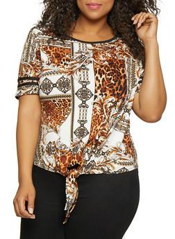 Plus Size Baroque Print Tie Front Tee - 3912001443893