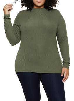 Plus Size Mock Neck Ribbed Knit Top - 3912015050155